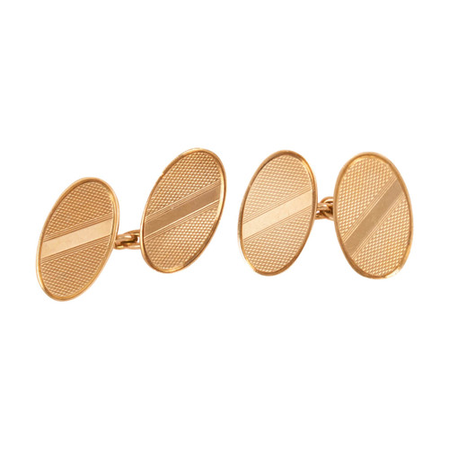 Vintage 9ct Gold Chain Link Oval Cufflinks
