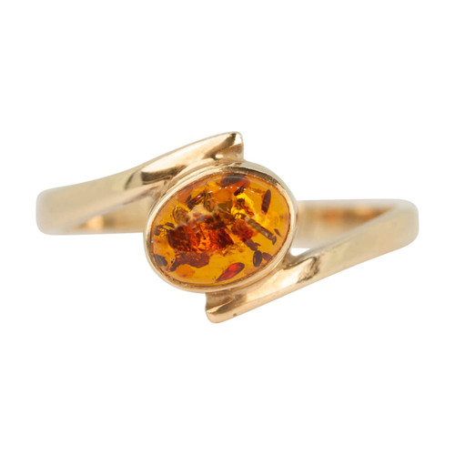 Second Hand 9ct Gold Amber Cross Over Ring