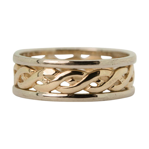 Second Hand 9ct Gold Two Colour Celtic Wedding Band Ring