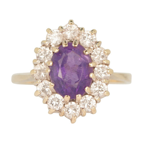 Second Hand 9ct Gold Amethyst & Cubic Zirconia Dress Ring