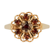 Second Hand Garnet 9ct Gold Cluster Ring