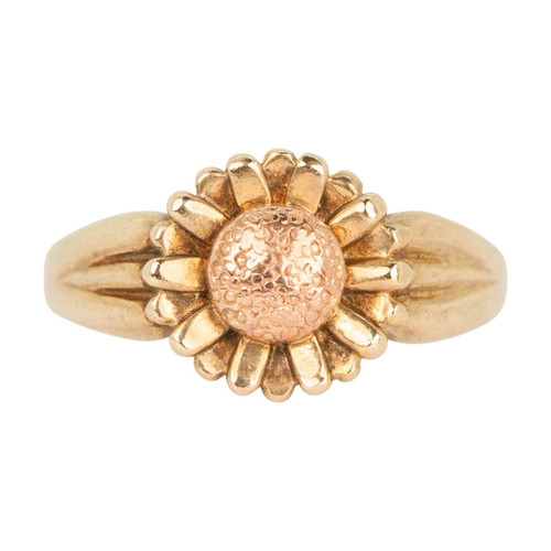 Second Hand 9ct Rose & Yellow Gold Flower Design Ring