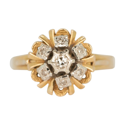 Second Hand 70's Style 18ct Gold Diamond Cluster Ring