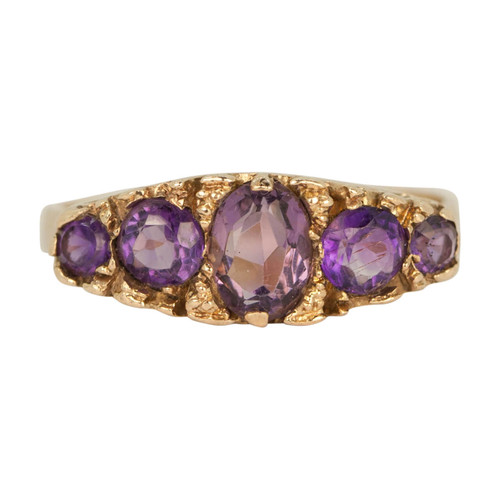 Second Hand Vintage Style 9ct Gold Amethyst Dress Ring