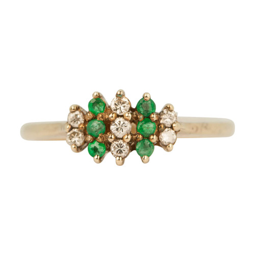 Second Hand 9ct Gold Emerald & Diamond Cluster Ring