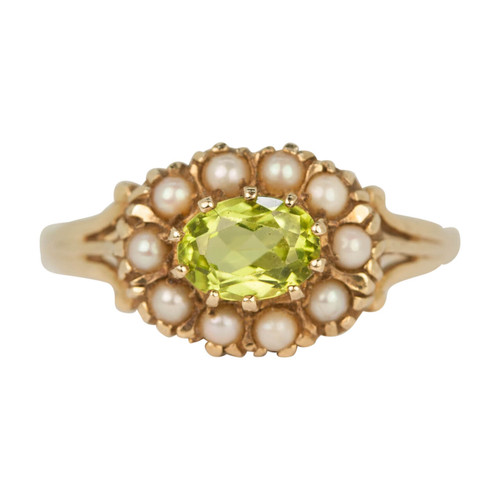 Second Hand Vintage Style 9ct Gold Peridot & Pearl Cluster Ring
