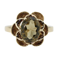 Second Hand 9ct Gold Smoky Quartz Scalloped Ring