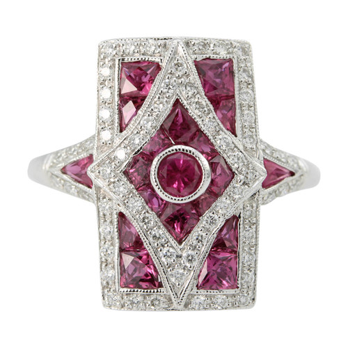 Vintage Deco Style 18ct Gold Ruby & Diamond Ring