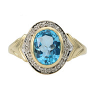 Second Hand 14ct Gold Blue Topaz & Diamond Dress Ring