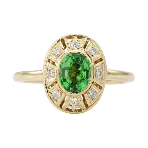 Second Hand 14ct Gold Tsavorite & Diamond Cluster Ring