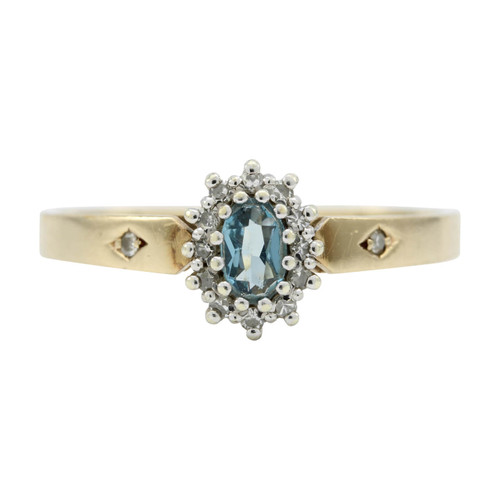 Second Hand 9ct Gold Blue Topaz & Diamond Cluster Ring