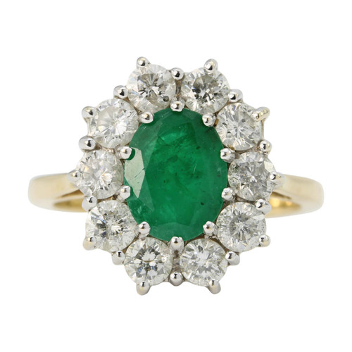 Second 18ct Gold Emerald & Diamond Cluster Ring