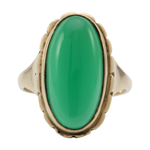 Second Hand 9ct Gold Oval Cut Green Agate Ring