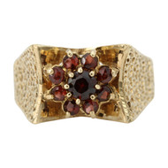 Second Hand 9ct Gold 1970's Garnet Dress Ring