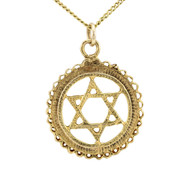 Second Hand 9ct Gold Star of David in Circle Surround Pendant