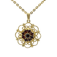 Second Hand 9ct Gold Garnet Ropework Pendant & Chain