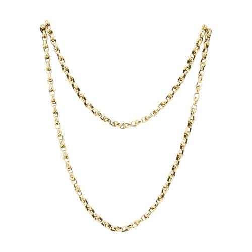 "Antique Victorian 64"" 9ct Gold Belcher Guard Chain"