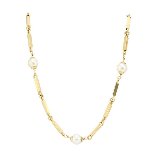 """Second Hand 18ct Gold Bar Link and Pearl 32"""" Long Necklace"""