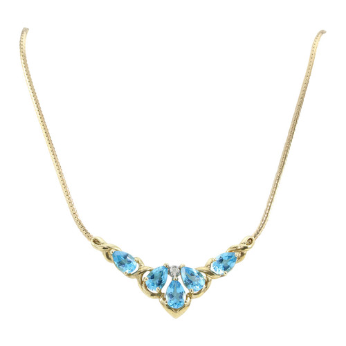Second Hand 9ct Gold Pear Shaped Blue Topaz & Diamond Necklace