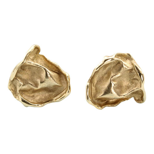 Second Hand 9ct Gold Abstract Leaf Studs