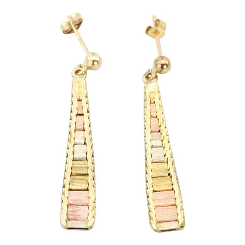 Second Hand 9ct Gold Three Colour Bark Effect Drop Earrings
