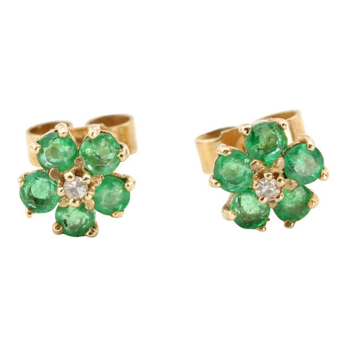 Second Hand 9ct Gold Emerald & Diamond Stud Earrings