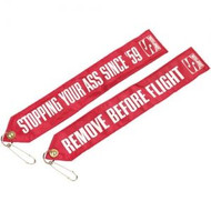 """""""Stopping Your Ass""""  Tag chute Flag Simpson - one side and """"Remove Before Flight"""" otherside"""