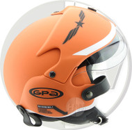 OPEN FACE SCOOTER HELMET OSBE GPA AIRCRAFT TORNADO ORANGE ARMY