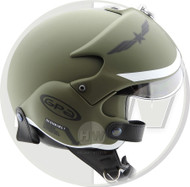 OPEN FACE SCOOTER HELMET OSBE GPA AIRCRAFT TORNADO GREEN ARMY
