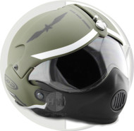 Open Face Scooter Helmet Osbe Gpa Aircraft Tornado Green Army + Mask