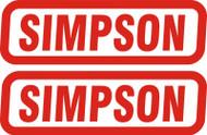 Simpson Genuine Stickers X2 Decal Set 80Mm X 20Mm Bandit Diamondback Speedway