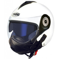 Osbe Gpa Aircraft Karma Helmet Open Face Motorcycle White + Covid Virus Mask