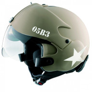 Osbe Gpa Tornado Aircraft Helmet Open Face Motorcycle Army Tan Star