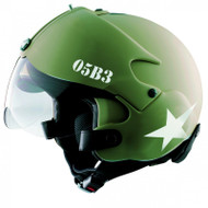 Osbe Gpa Tornado Aircraft Helmet Open Face Motorcycle Army Green Star