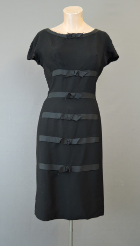 Vintage 1950s Black Dress with Ribbon & Bows, fits 38 inch bust, Gottlieb Armao