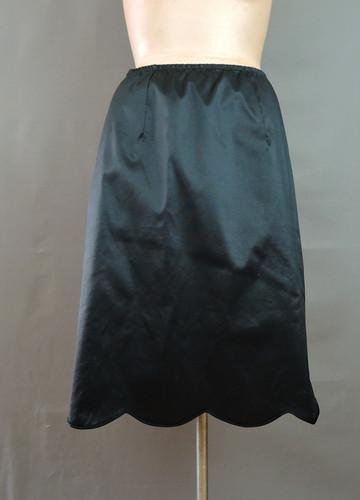 Vintage Black Woven Nylon Half Slip, 25 to 28 inch waist, 1980s zip/elastic waist