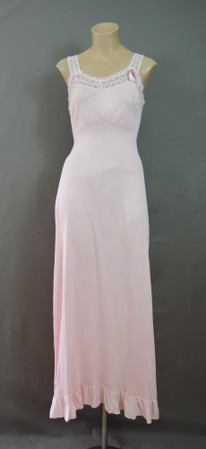 Vintage Pink Nightgown with Lace and Ruffle , 32 bust, 1960s