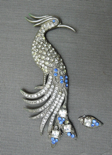 Vintage Bird Brooch Rhinestone Bird of Paradise, 1930s 4-1/2 inches, As Is, Damaged