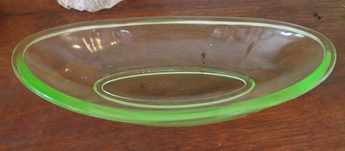 1930s 1940s Green Depression Glass Relish Dish, As Is