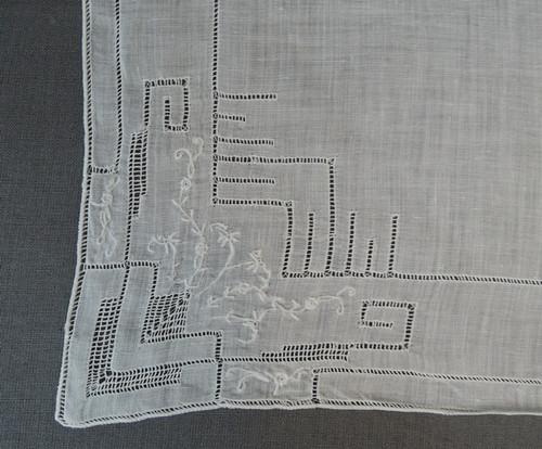 Vintage White Hankie with Fine Embroidery & Drawn work, 1950s