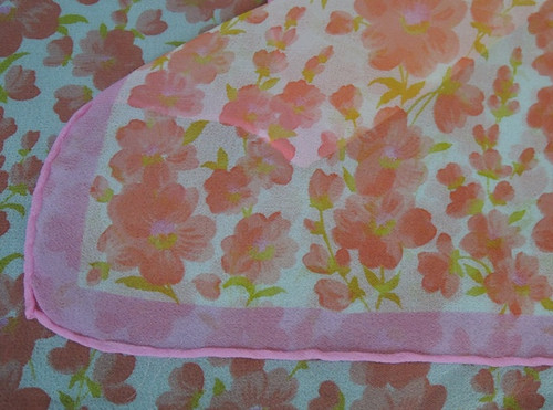 Vintage Bright Pink & Coral Floral Chiffon Scarf, 14 x 40 inches