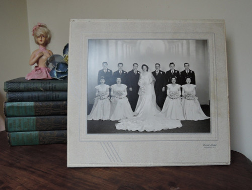 1940s Wedding Portrait - Bridal Party Photo in Art Deco Cardboard Easel Frame