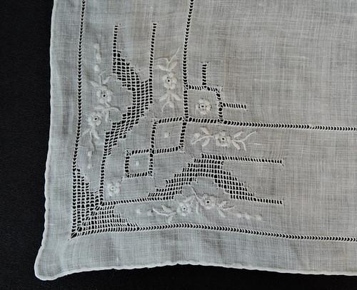 Vintage White Wedding Hankie with Dainty Embroidery & Drawn Thread-work