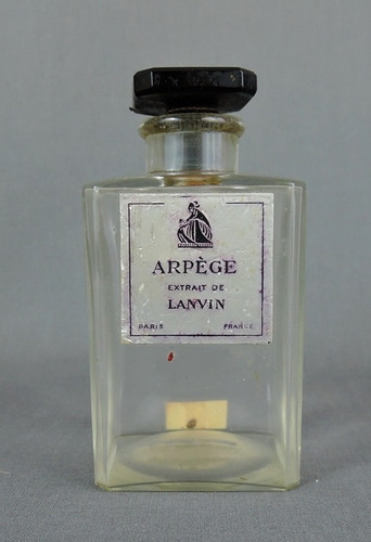 Vintage 1940s Lanvin Arpege Perfume Bottle, Black Glass Logo Stopper, 4 inches, empty