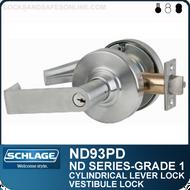 Schlage ND93PD - Heavy Duty Vandlgard® Vestibule Lever Lock, Double Cylinder