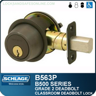 Schlage B563P Deadbolt - Classroom cylinder outside, retraction turn inside