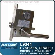 Schlage L9044 - GRADE 1 MORTISE LEVERED LOCK - Privacy with Coin Turn - Standard Lever Collections