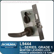 Schlage L9444/LV9444 - GRADE 1 MORTISE LEVERED LOCK - Privacy with Deadbolt and Coin Turn - Standard Lever Collections
