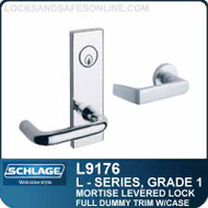 Schlage L9176 - GRADE 1 MORTISE LEVERED LOCK - Double Dummy with Case - Standard Lever Collections