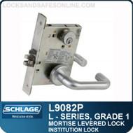 Schlage L9082P/LV9082P - GRADE 1 MORTISE LEVERED LOCK - Institution Lock - Escutcheon Trim - M Collection Levers